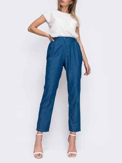Зауженные брюки с высокой посадкой синего цвета 48030, фото 1