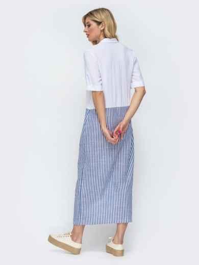 Белое платье-рубашка в узкую синюю полоску по низу 46812, фото 3