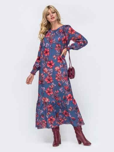 Длинное платье из шифона синего цвета с принтом 50147, фото 2