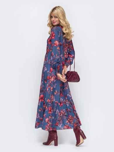 Длинное платье из шифона синего цвета с принтом 50147, фото 3