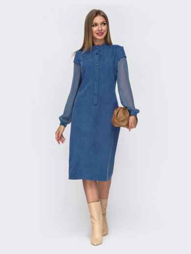 Голубое платье приталенного кроя из замши с шифоновыми рукавами 51561, фото 2
