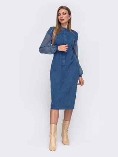 Голубое платье приталенного кроя из замши с шифоновыми рукавами 51561, фото 3