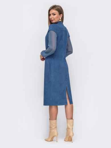 Голубое платье приталенного кроя из замши с шифоновыми рукавами 51561, фото 4