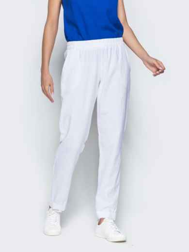 Льняные брюки белого цвета с карманами 38734, фото 1