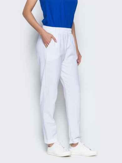 Льняные брюки белого цвета с карманами 38734, фото 2