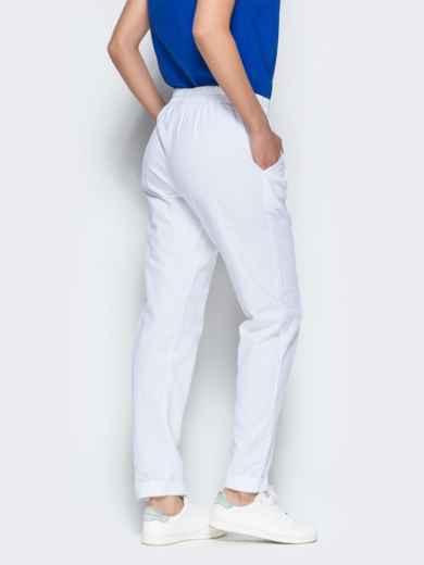 Льняные брюки белого цвета с карманами 38734, фото 3