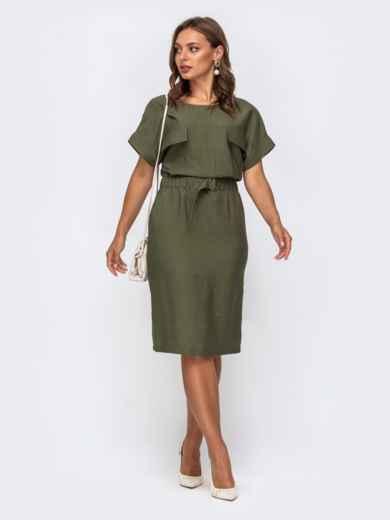 Платье цвета хаки приталенного кроя с цельнокроеным рукавом 50140, фото 2