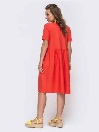 Платье из льна с вышивской на полочке коралловое 48162, фото 2
