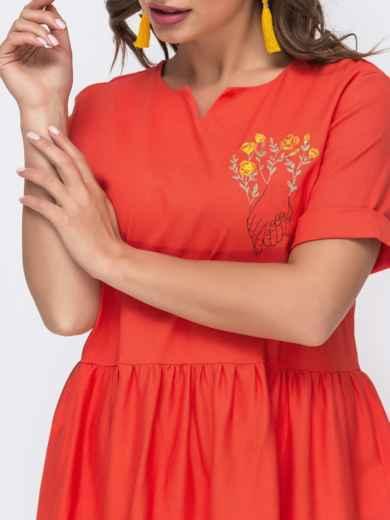 Платье из льна с вышивской на полочке коралловое 48162, фото 3