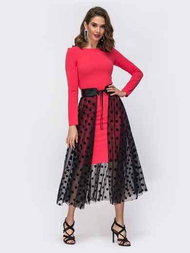 Платье кораллового цвета с фатиновой юбкой в горох 43067, фото 1