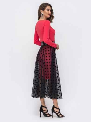 Платье кораллового цвета с фатиновой юбкой в горох 43067, фото 2