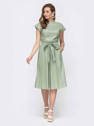 Зеленое платье с вырезом по спинке и расклешенной юбкой 46678, фото 1