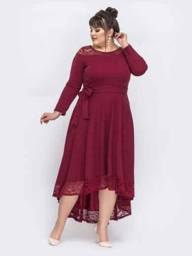 Бордовое платье батал с люрексом и удлиненной спинкой 43889, фото 2