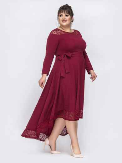 Бордовое платье батал с люрексом и удлиненной спинкой 43889, фото 3