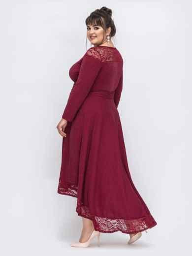Бордовое платье батал с люрексом и удлиненной спинкой 43889, фото 4