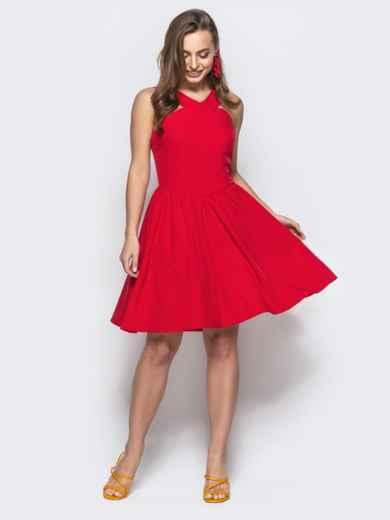 Приталенный сарафан с американской проймой красный - 21733, фото 1 – интернет-магазин Dressa