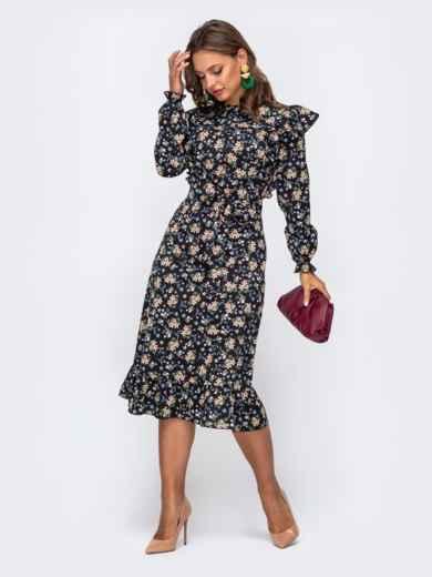 Черное платье в цветочный принт с оборками и воланом 50469, фото 2