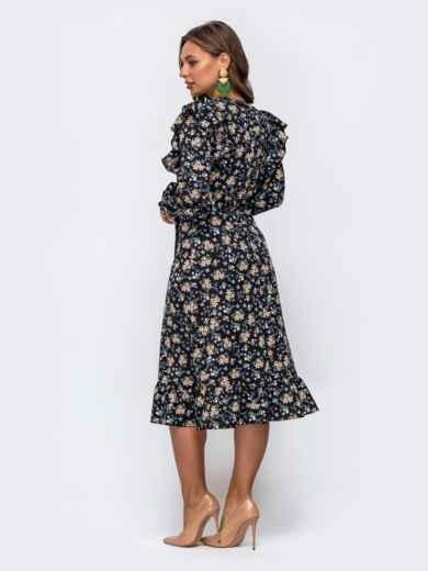 Черное платье в цветочный принт с оборками и воланом 50469, фото 3