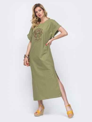 Длинное платье из льна с вышивкой на полочке хаки 48163, фото 2