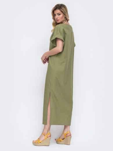 Длинное платье из льна с вышивкой на полочке хаки 48163, фото 3