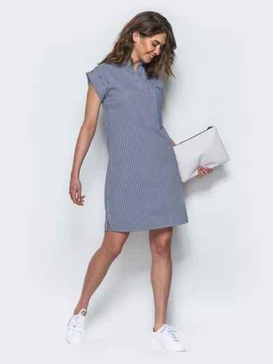 Платье прямого кроя с открытой планкой синее 21775, фото 2