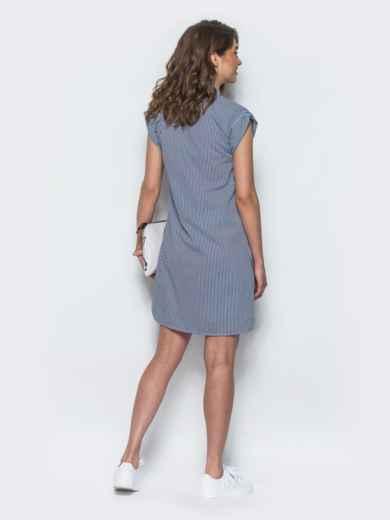 Платье прямого кроя с открытой планкой синее 21775, фото 3
