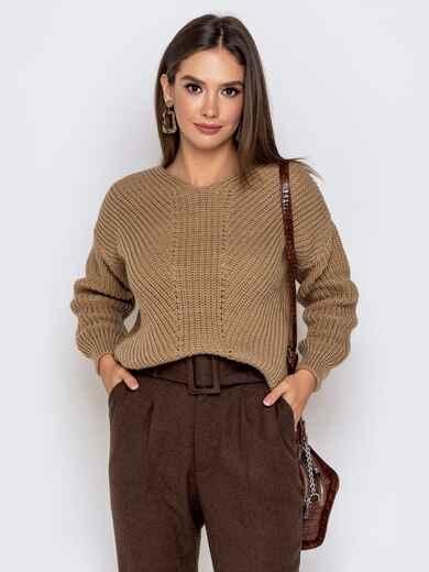 Бежевый свитер крупной вязки 41149, фото 1
