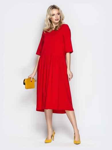 Красное платье oversize со складками на юбке 20657, фото 4