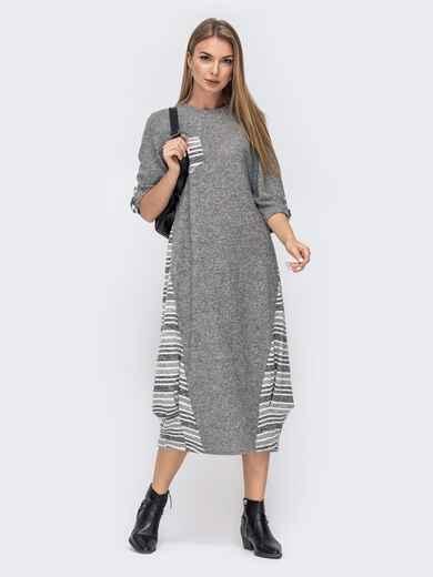 Платье-баллон в полоску со шлевками на рукавах светло-серое 40282, фото 1