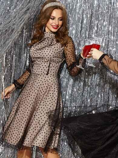 Трикотажное платье с юбкой-полусолнце чёрное 42653, фото 1