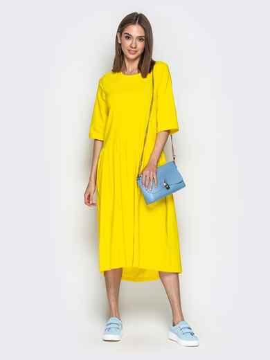 Жёлтое платье oversize со складками на юбке 20656, фото 1