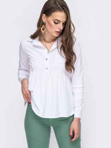 Блузка белого цвета с удлиненной спинкой 45647, фото 1
