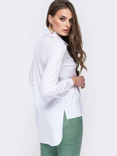Блузка белого цвета с удлиненной спинкой 45647, фото 3
