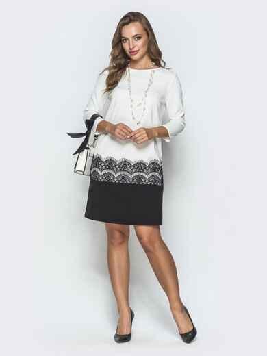 Классическое платье с кружевом чёрно-белое 39877, фото 1