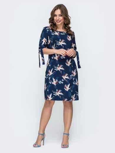 Платье из софта с принтом журавли синее 46930, фото 1