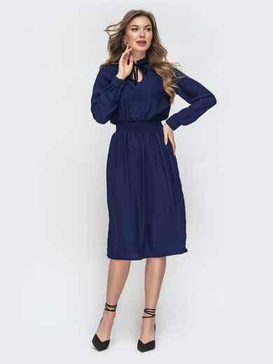 Тёмно-синее платье с вафельной резинкой по талии 45344, фото 1