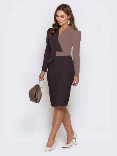 Обтягивающее платье-миди коричневого цвета 42305, фото 1