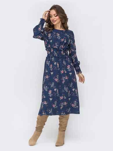 Расклешенное платье с принтом тёмно-синее 44213, фото 1