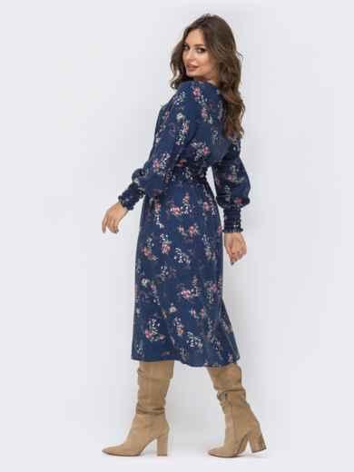 Расклешенное платье с принтом тёмно-синее 44213, фото 2
