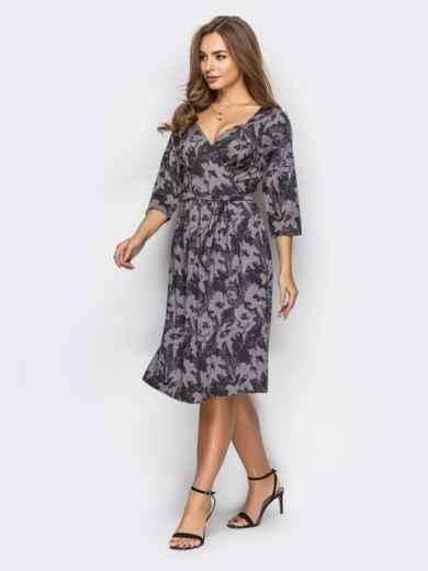 Бежевое платье на запах с принтом 13663, фото 2