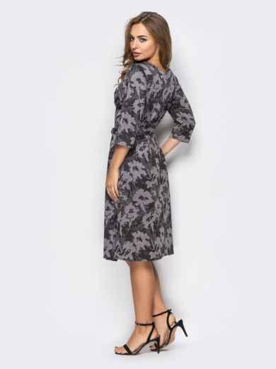 Бежевое платье на запах с принтом 13663, фото 3
