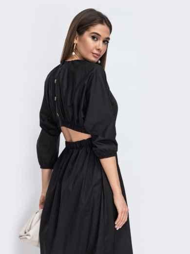 Чёрное платье из хлопка с резинкой по талии 44785, фото 2