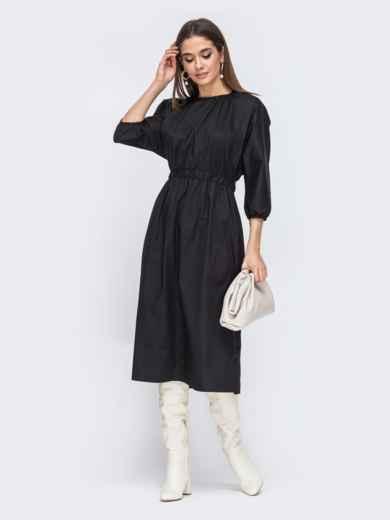 Чёрное платье из хлопка с резинкой по талии 44785, фото 3