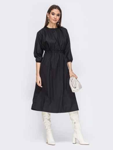 Чёрное платье из хлопка с резинкой по талии 44785, фото 4