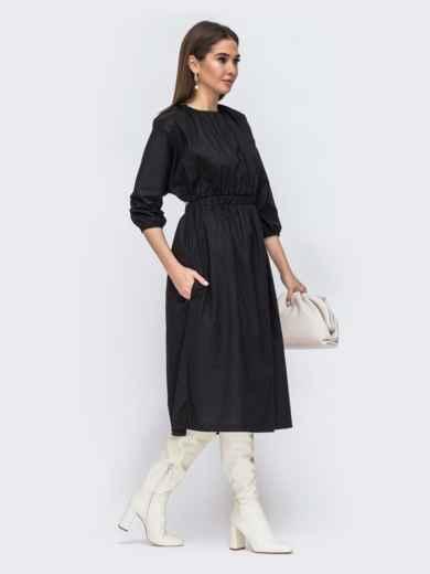 Чёрное платье из хлопка с резинкой по талии 44785, фото 5