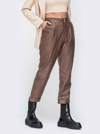 Коричневые брюки из эко-кожи с высокой посадкой 44736, фото 2