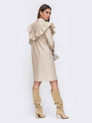 Платье-рубашка бежевого цвета с воланом на кокетке 44784, фото 3