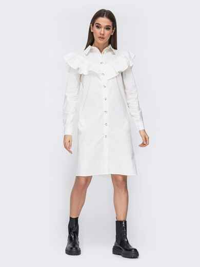 Платье-рубашка молочного цвета с воланом на кокетке 44783, фото 1