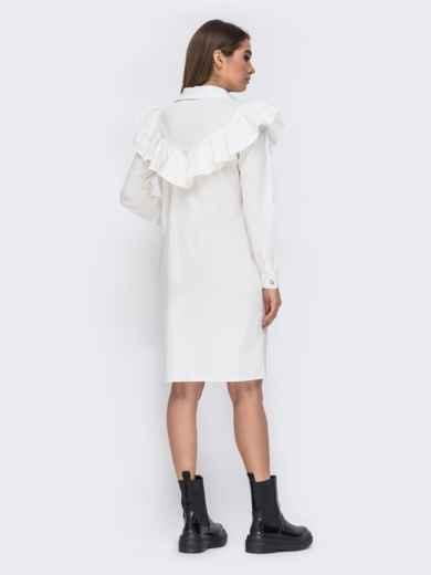 Платье-рубашка молочного цвета с воланом на кокетке 44783, фото 2