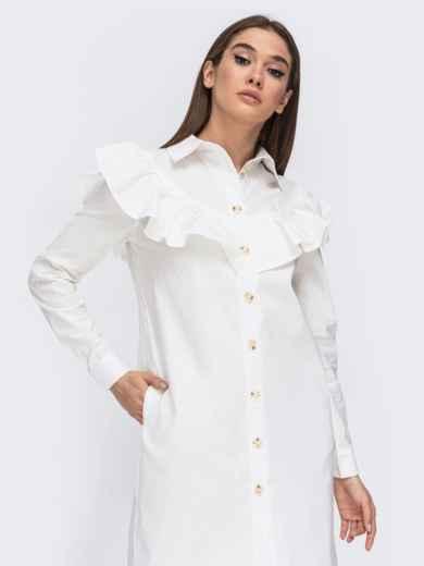 Платье-рубашка молочного цвета с воланом на кокетке 44783, фото 3
